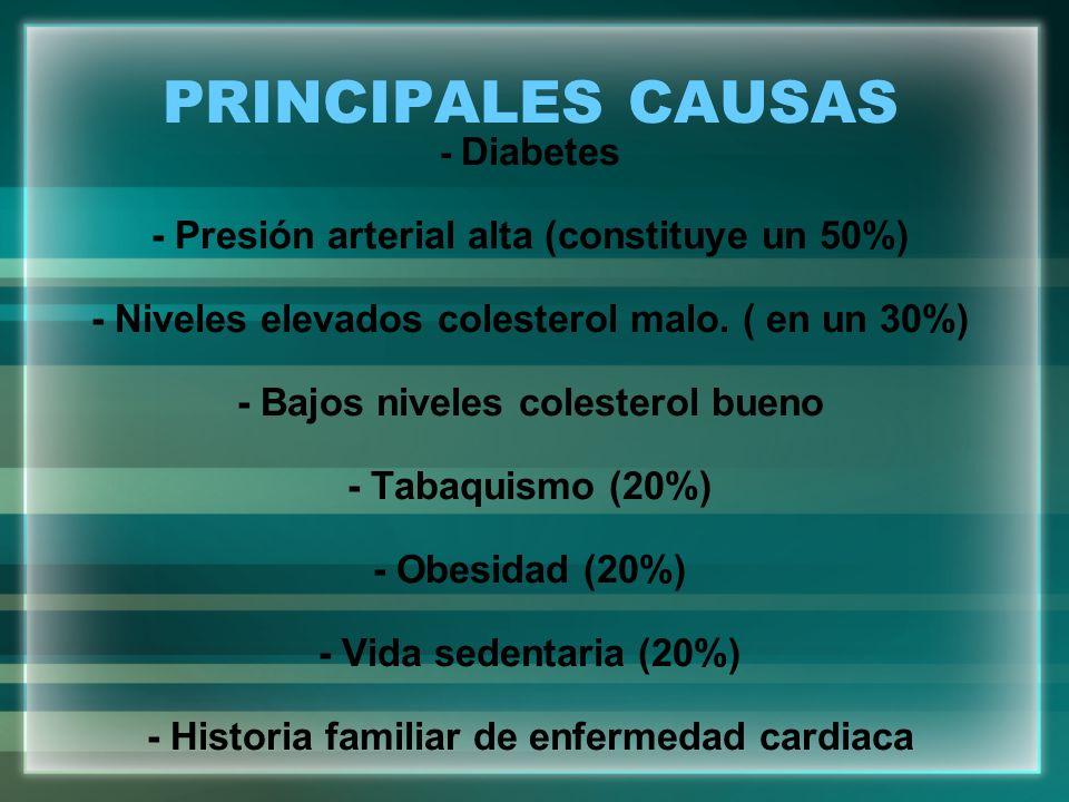 PRINCIPALES CAUSAS - Presión arterial alta (constituye un 50%)