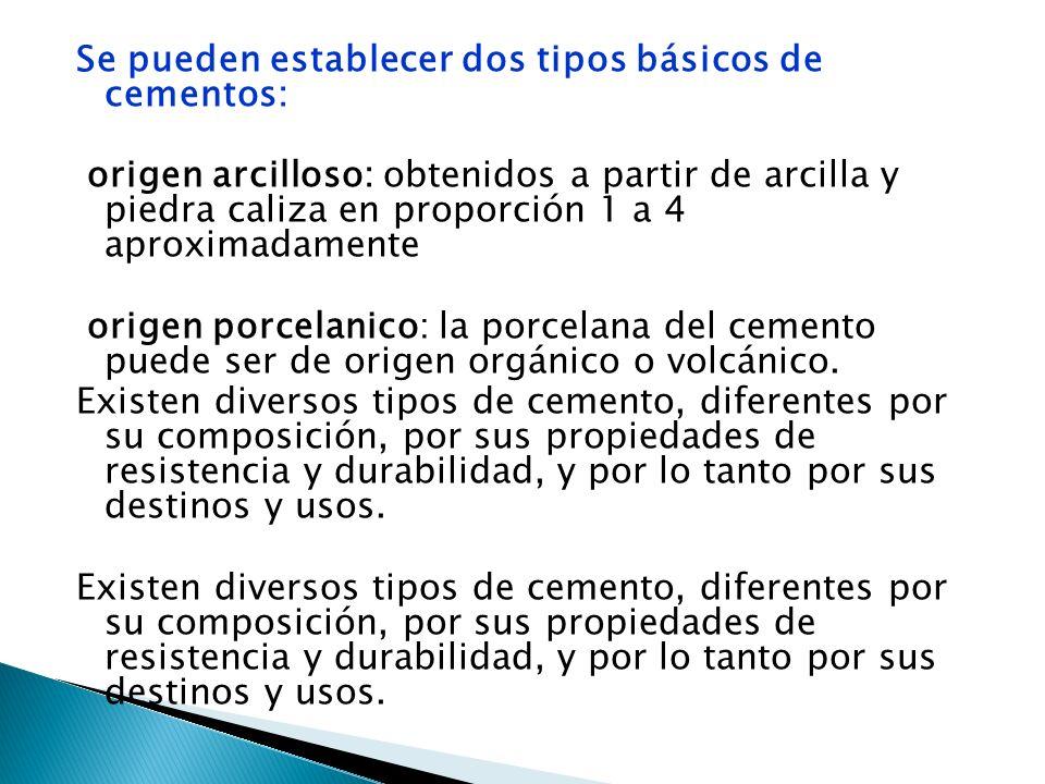 Se pueden establecer dos tipos básicos de cementos: