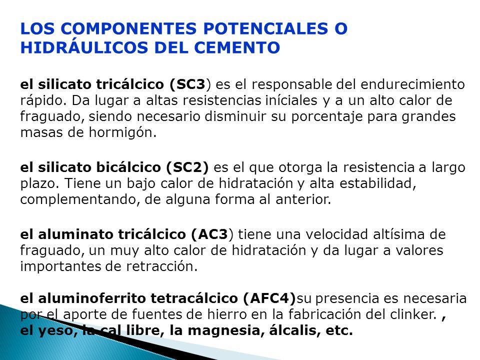 Los componentes potenciales o hidráulicos del cemento