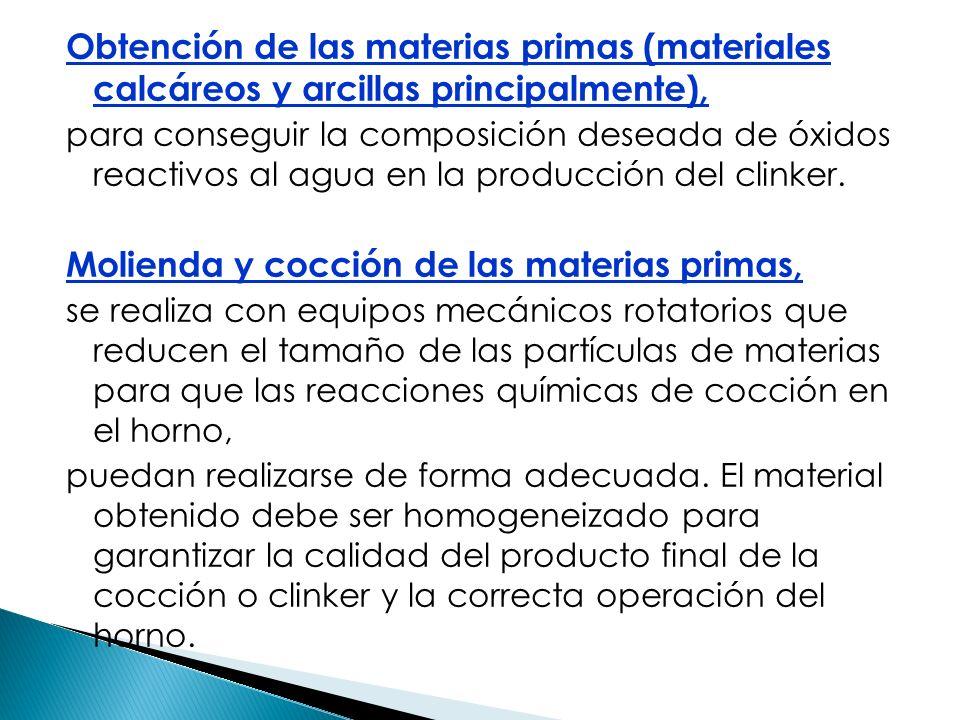 Molienda y cocción de las materias primas,