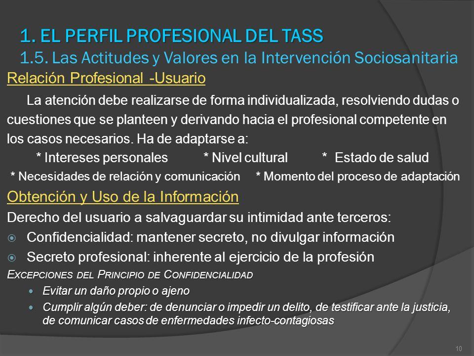 1. EL PERFIL PROFESIONAL DEL TASS 1. 5
