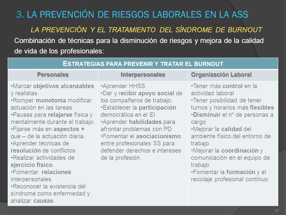 3. LA PREVENCIÓN DE RIESGOS LABORALES EN LA ASS