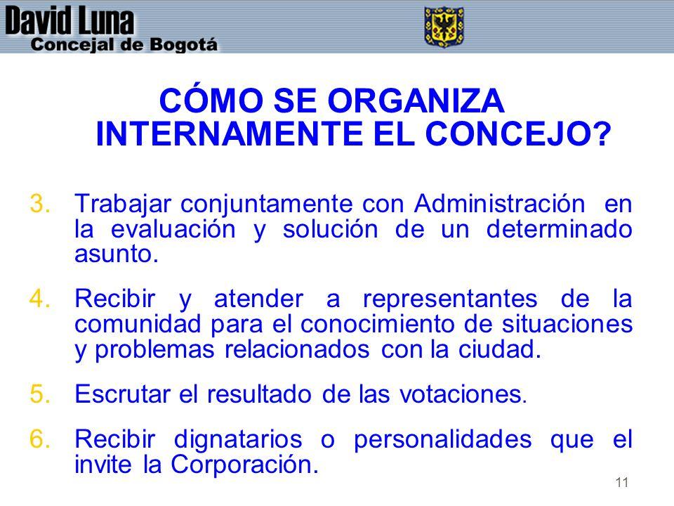 CÓMO SE ORGANIZA INTERNAMENTE EL CONCEJO