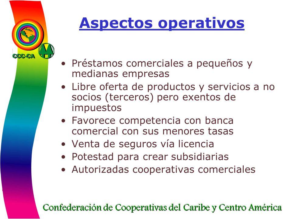 Aspectos operativos Préstamos comerciales a pequeños y medianas empresas.