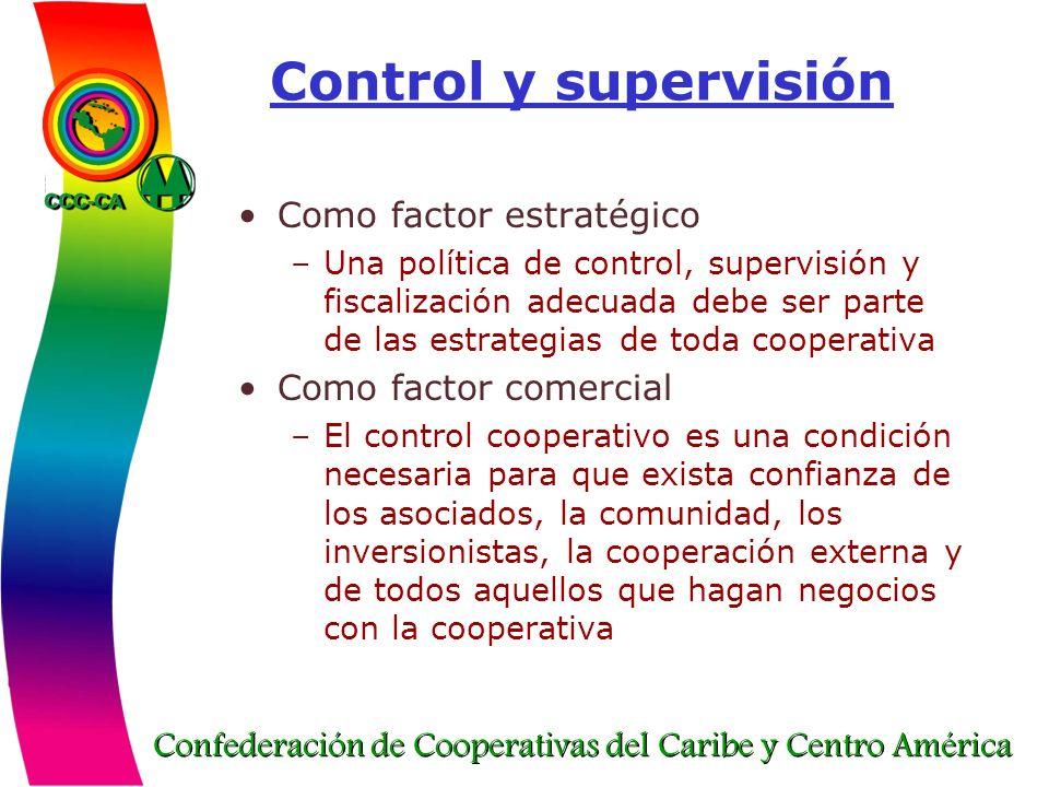 Control y supervisión Como factor estratégico Como factor comercial