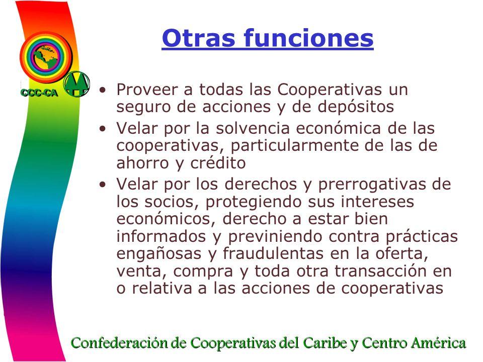 Otras funciones Proveer a todas las Cooperativas un seguro de acciones y de depósitos.