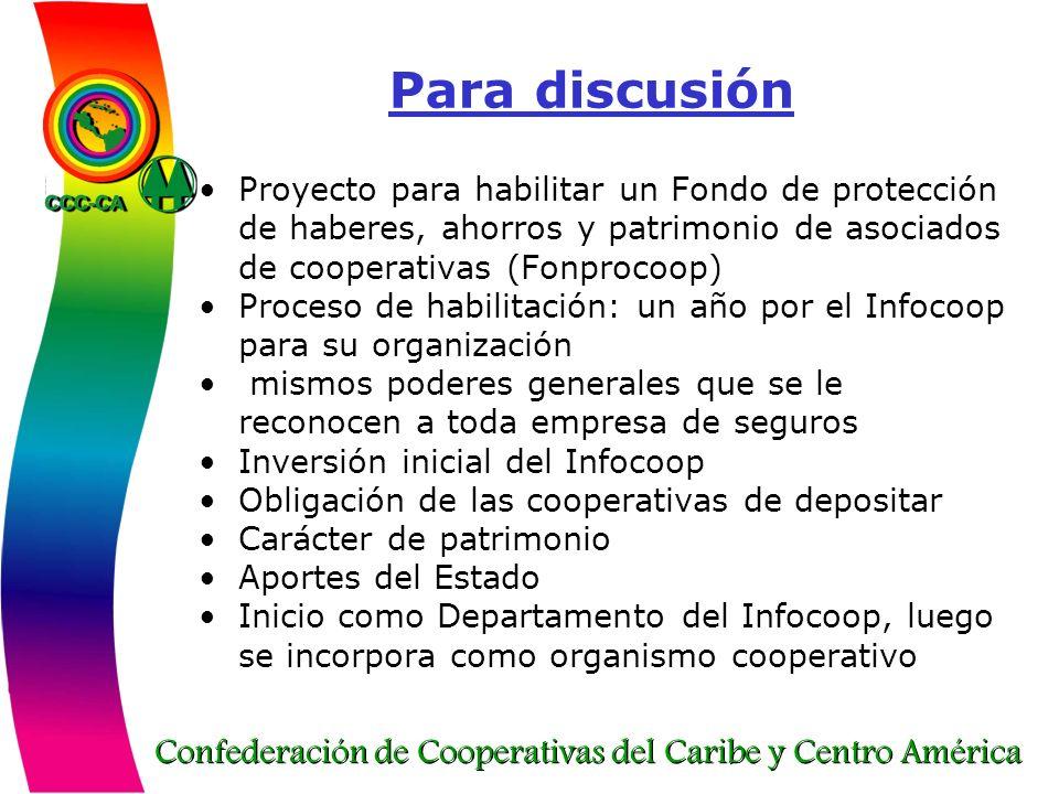 Para discusión Proyecto para habilitar un Fondo de protección de haberes, ahorros y patrimonio de asociados de cooperativas (Fonprocoop)