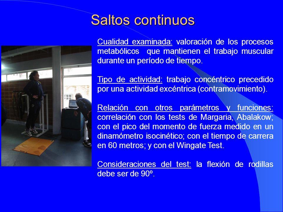 Saltos continuos Cualidad examinada: valoración de los procesos metabólicos que mantienen el trabajo muscular durante un período de tiempo.