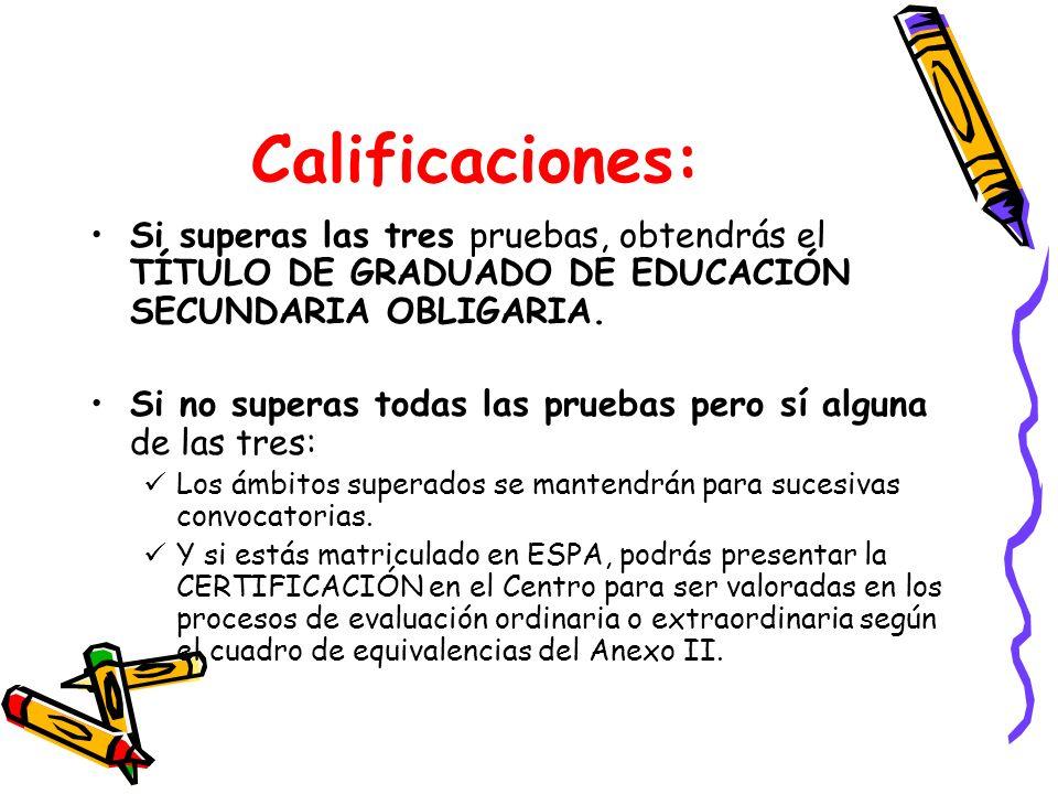 Calificaciones:Si superas las tres pruebas, obtendrás el TÍTULO DE GRADUADO DE EDUCACIÓN SECUNDARIA OBLIGARIA.