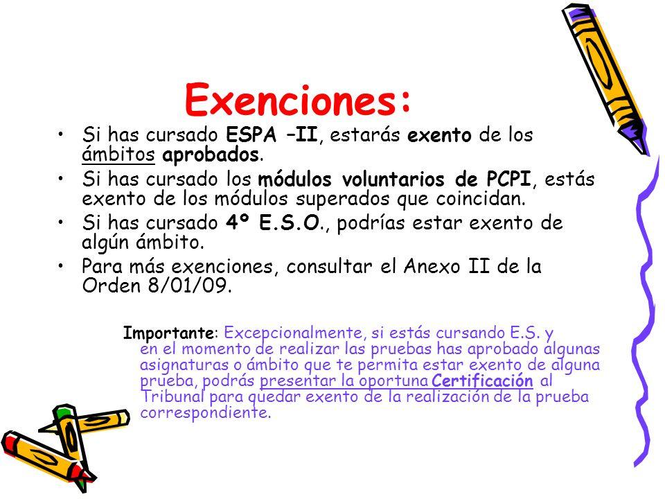 Exenciones:Si has cursado ESPA –II, estarás exento de los ámbitos aprobados.