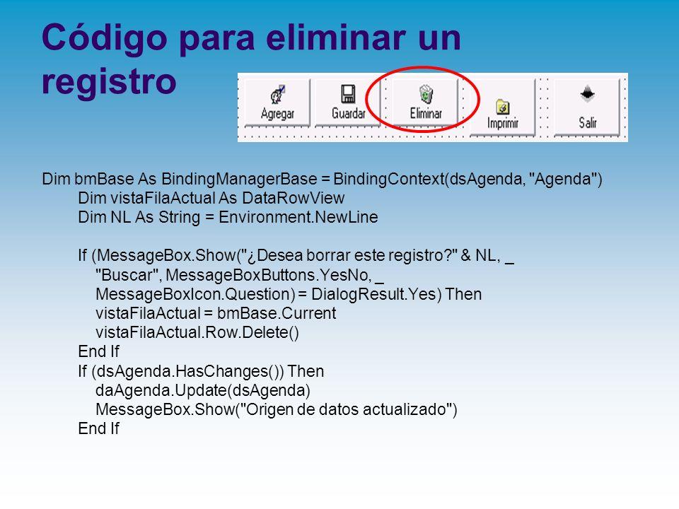 Código para eliminar un registro
