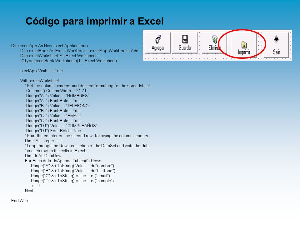 Código para imprimir a Excel