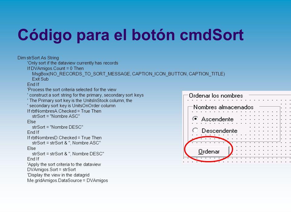 Código para el botón cmdSort