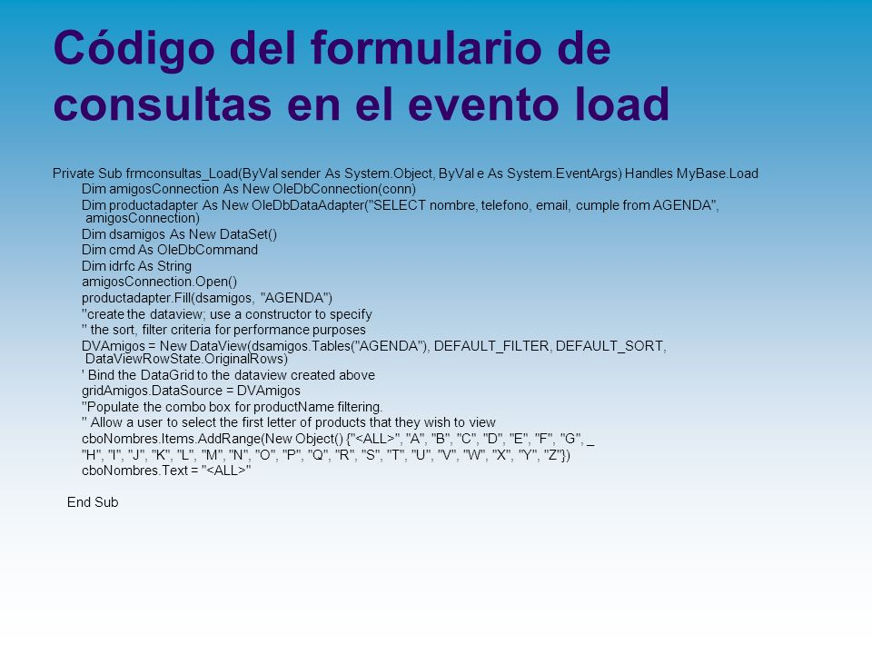 Código del formulario de consultas en el evento load