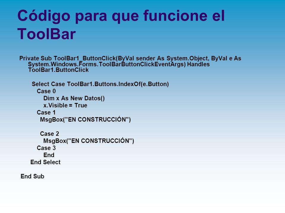 Código para que funcione el ToolBar