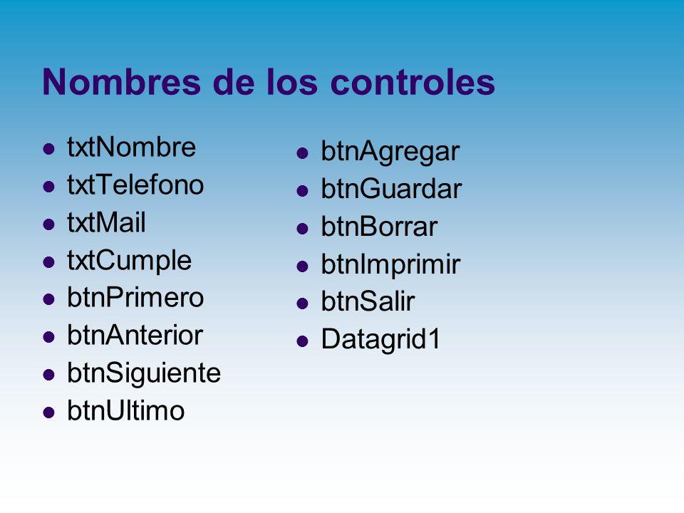 Nombres de los controles
