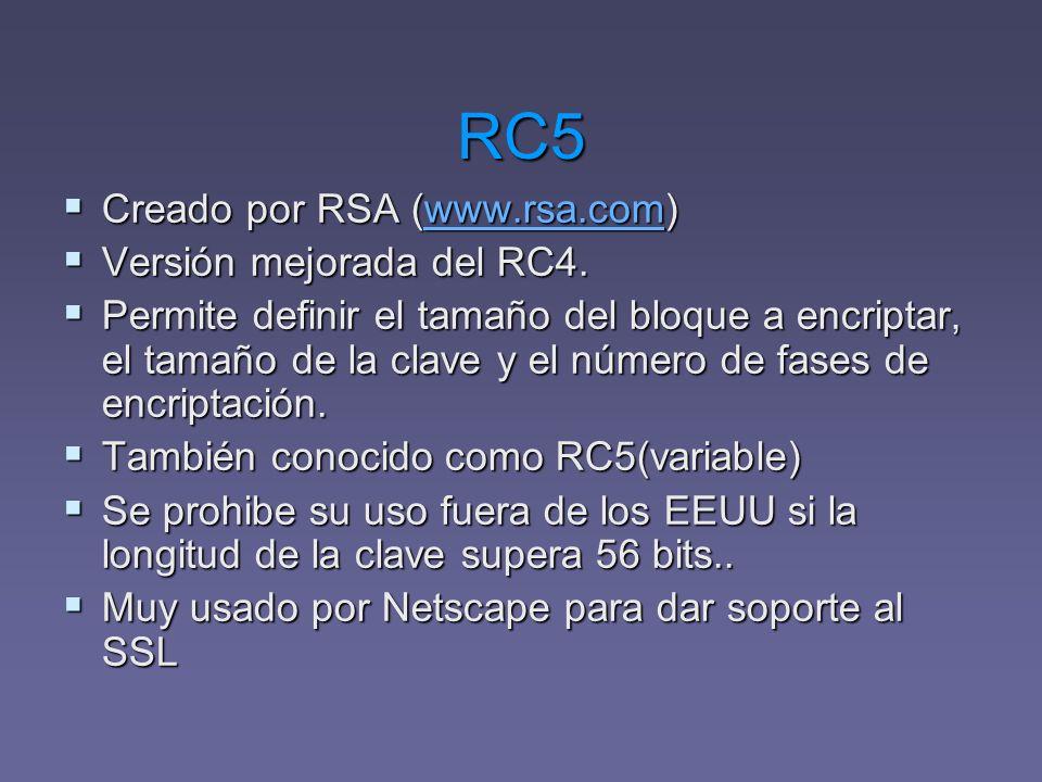 RC5 Creado por RSA (www.rsa.com) Versión mejorada del RC4.