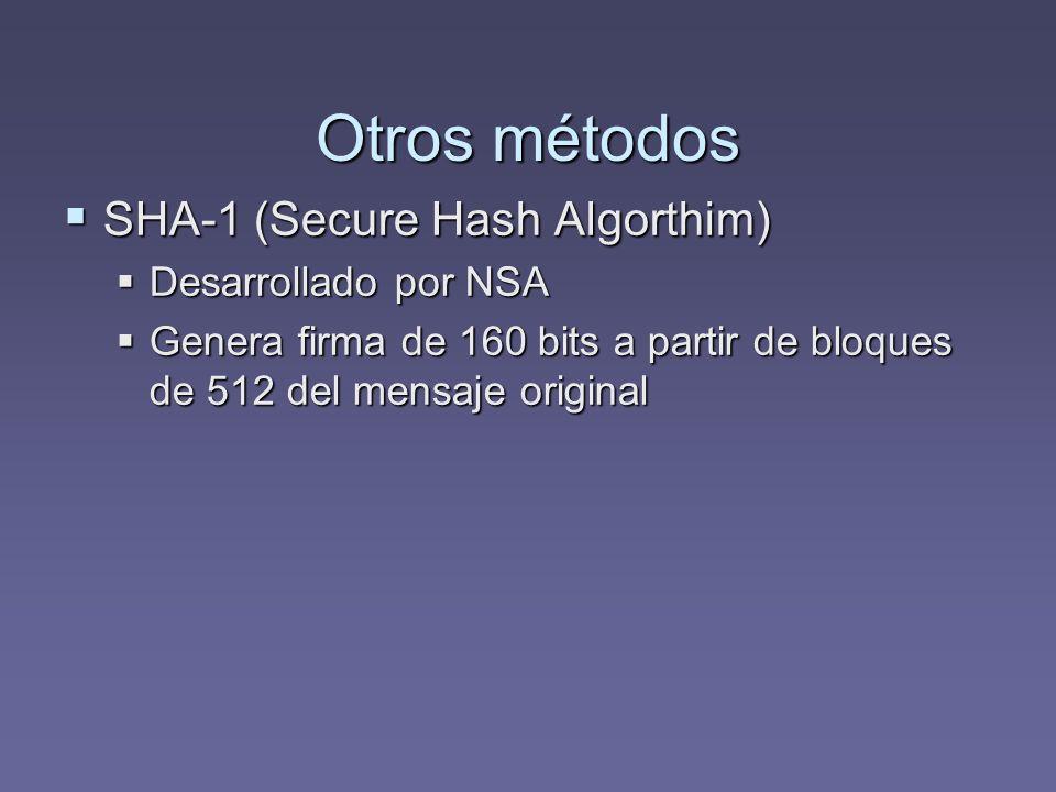 Otros métodos SHA-1 (Secure Hash Algorthim) Desarrollado por NSA
