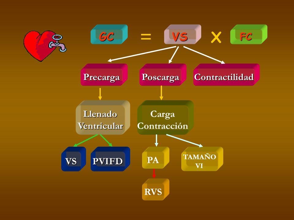 = X GC VS FC Precarga Poscarga Contractilidad Llenado Ventricular
