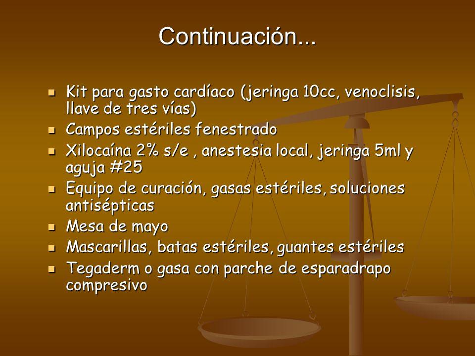 Continuación... Kit para gasto cardíaco (jeringa 10cc, venoclisis, llave de tres vías) Campos estériles fenestrado.