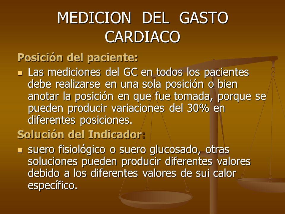 MEDICION DEL GASTO CARDIACO