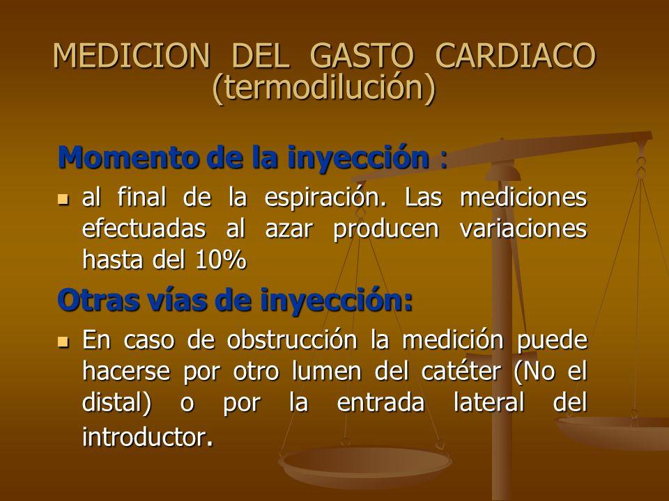 MEDICION DEL GASTO CARDIACO (termodilución)