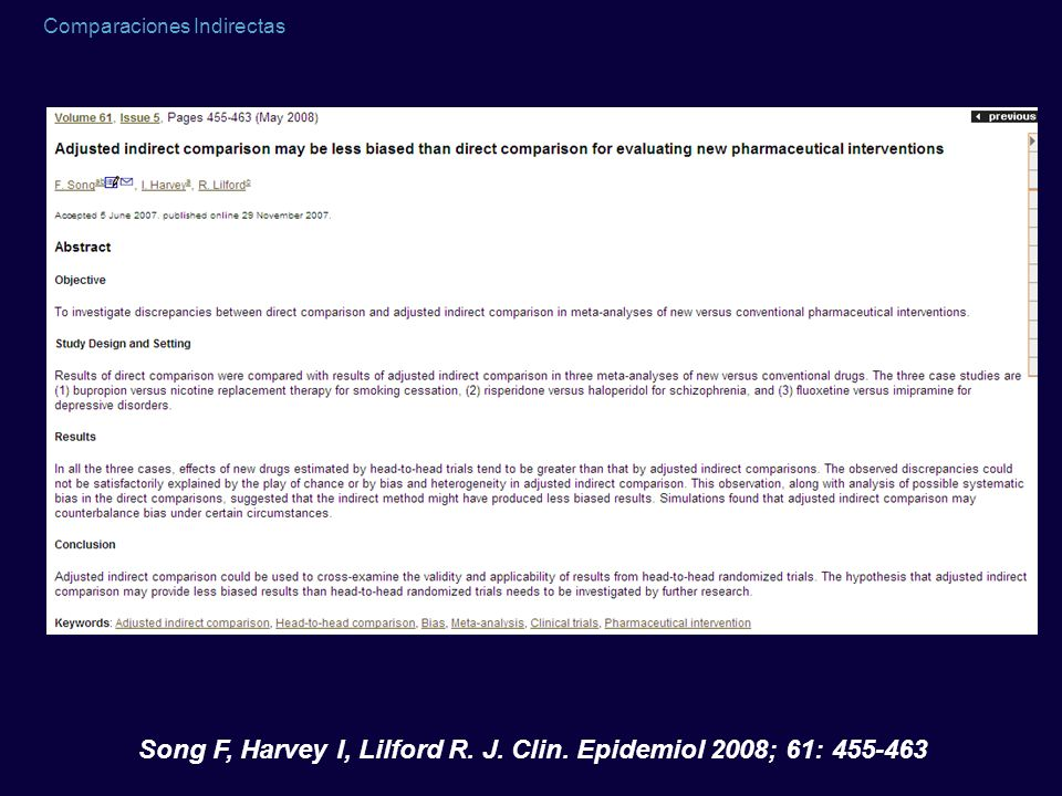 Song F, Harvey I, Lilford R. J. Clin. Epidemiol 2008; 61: 455-463