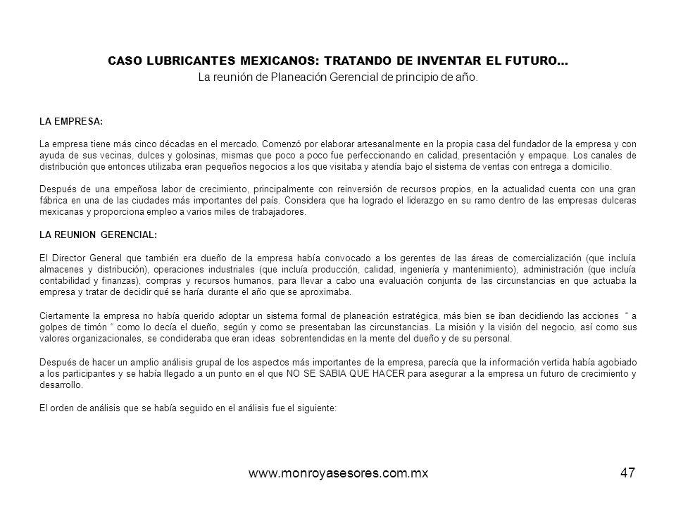 CASO LUBRICANTES MEXICANOS: TRATANDO DE INVENTAR EL FUTURO…