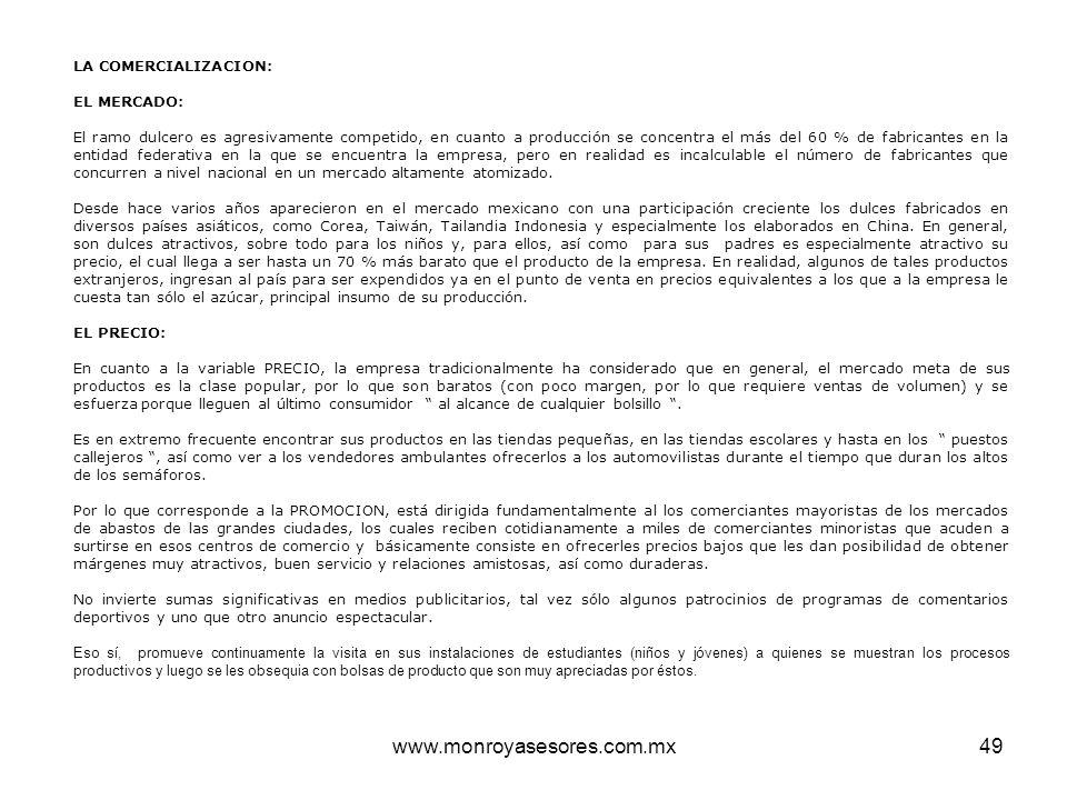 www.monroyasesores.com.mx LA COMERCIALIZACION: EL MERCADO: