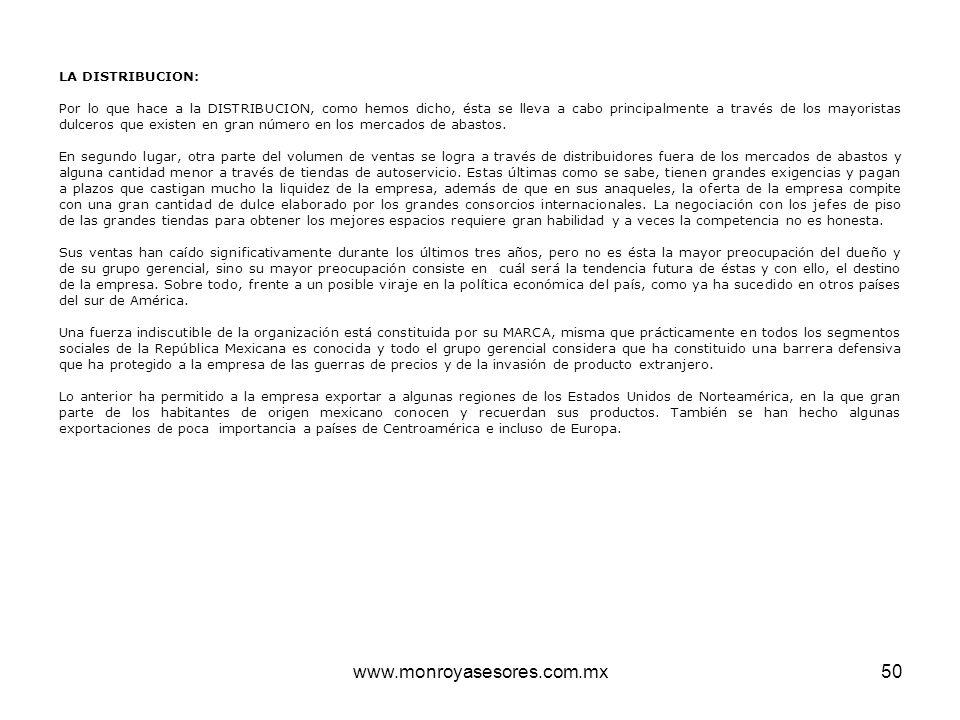 www.monroyasesores.com.mx LA DISTRIBUCION: