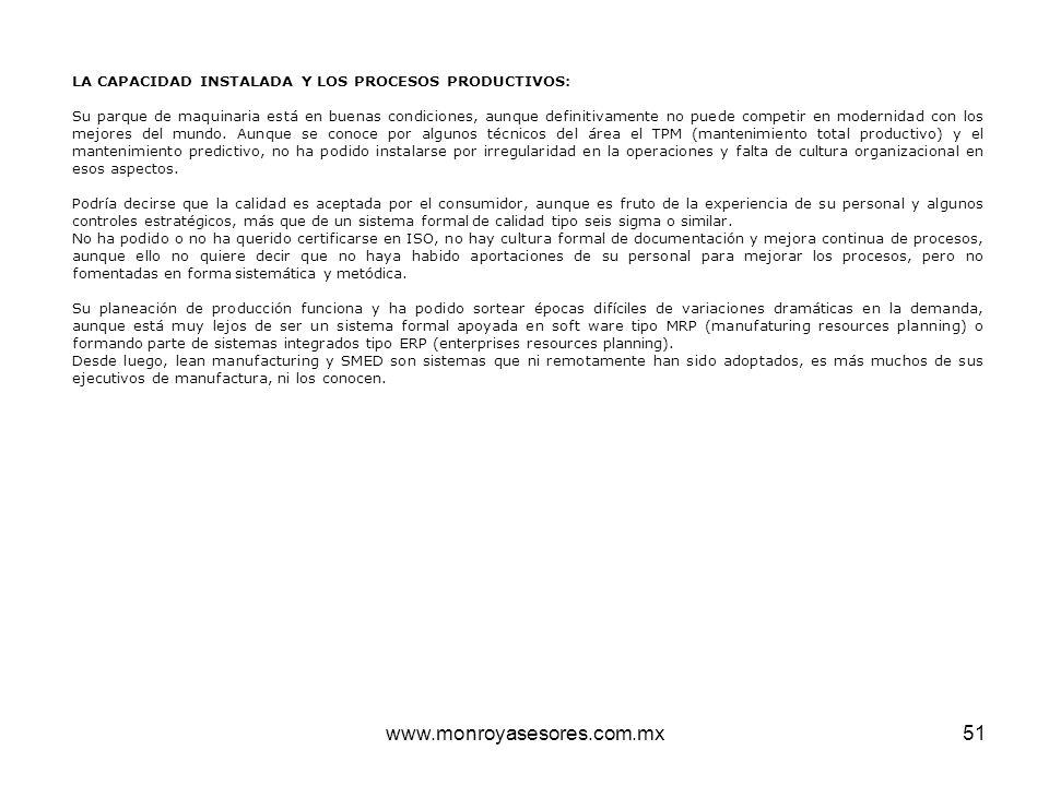 LA CAPACIDAD INSTALADA Y LOS PROCESOS PRODUCTIVOS: