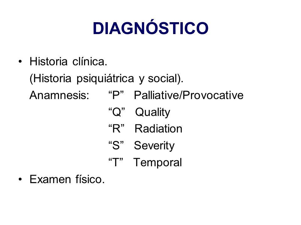 DIAGNÓSTICO Historia clínica. (Historia psiquiátrica y social).