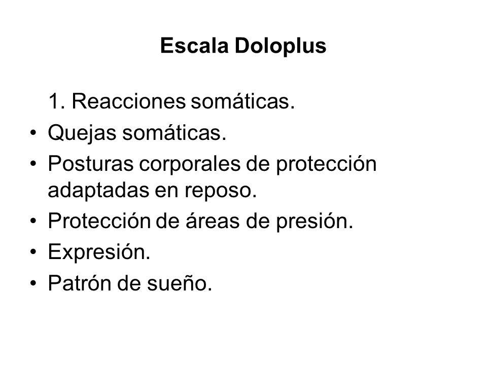 Escala Doloplus 1. Reacciones somáticas. Quejas somáticas. Posturas corporales de protección adaptadas en reposo.