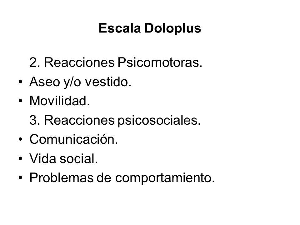 Escala Doloplus 2. Reacciones Psicomotoras. Aseo y/o vestido. Movilidad. 3. Reacciones psicosociales.