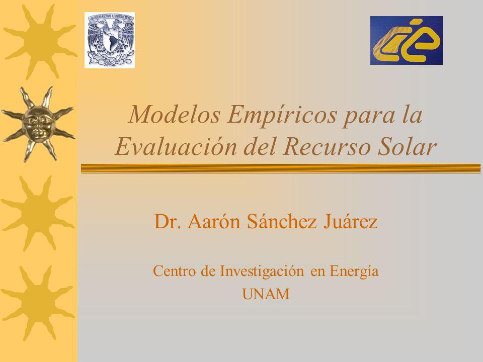 Modelos Empíricos para la Evaluación del Recurso Solar