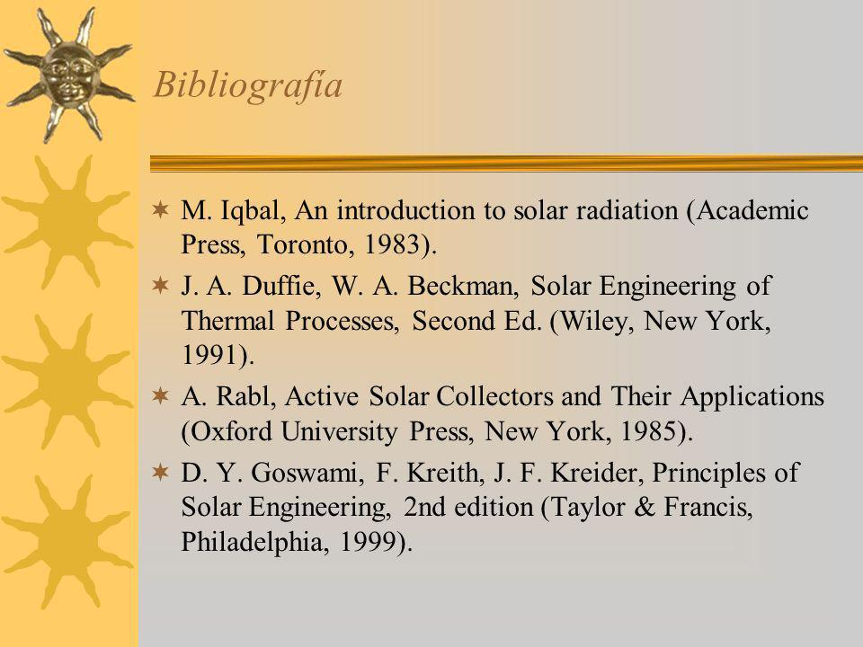 Bibliografía M. Iqbal, An introduction to solar radiation (Academic Press, Toronto, 1983).