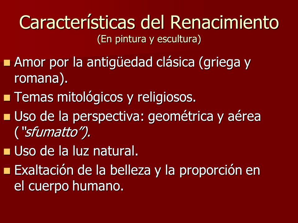 Características del Renacimiento (En pintura y escultura)