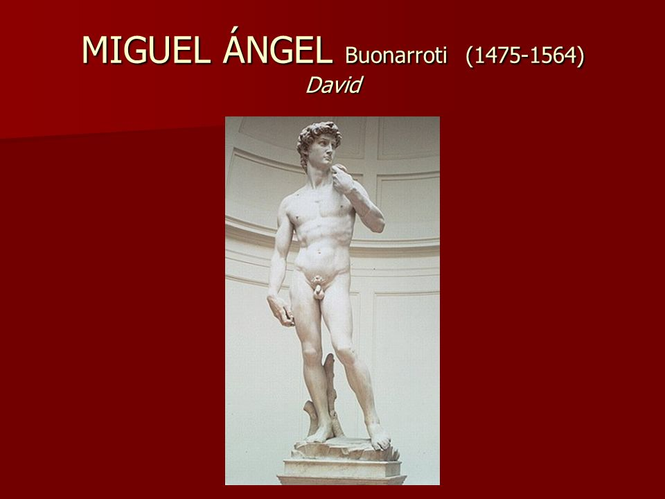 MIGUEL ÁNGEL Buonarroti (1475-1564) David