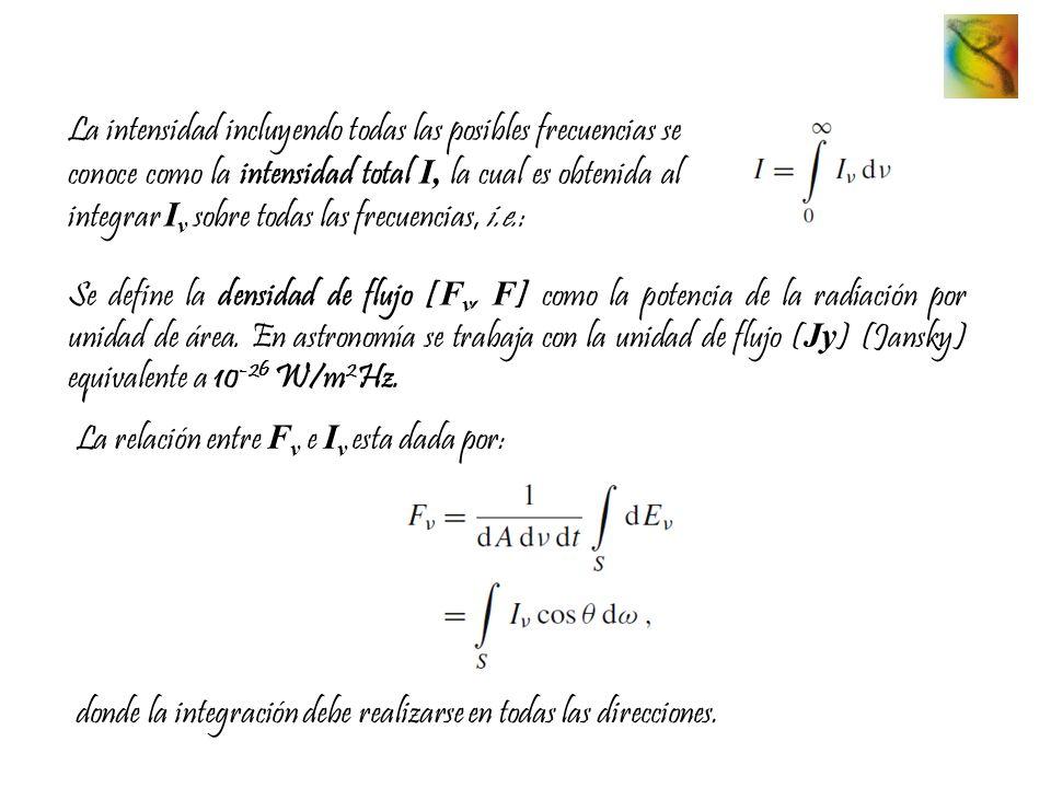 La intensidad incluyendo todas las posibles frecuencias se conoce como la intensidad total I, la cual es obtenida al integrar Iν sobre todas las frecuencias, i.e.:
