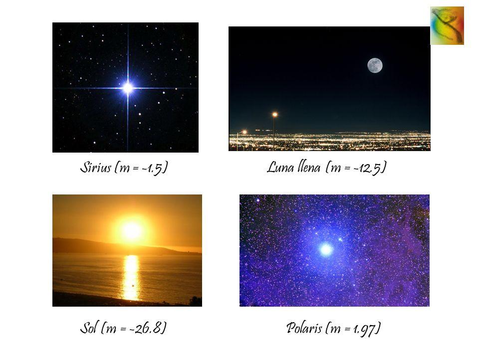 Sirius (m = -1.5) Luna llena (m = -12.5) Sol (m = -26.8) Polaris (m = 1.97)