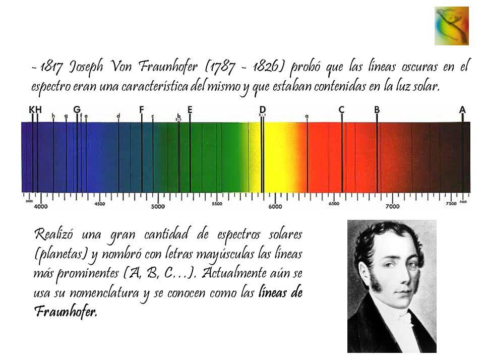 1817 Joseph Von Fraunhofer (1787 - 1826) probó que las líneas oscuras en el espectro eran una característica del mismo y que estaban contenidas en la luz solar.