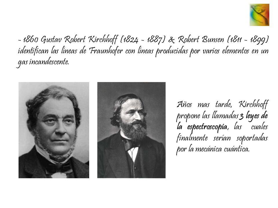 1860 Gustav Robert Kirchhoff (1824 - 1887) & Robert Bunsen (1811 - 1899) identifican las líneas de Fraunhofer con líneas producidas por varios elementos en un gas incandescente.