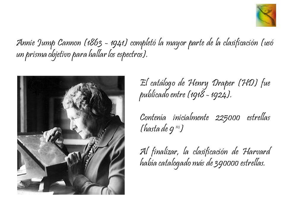 Annie Jump Cannon (1863 - 1941) completó la mayor parte de la clasificación (usó un prisma objetivo para hallar los espectros).