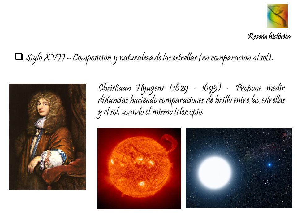 Reseña histórica Siglo XVII – Composición y naturaleza de las estrellas (en comparación al sol).