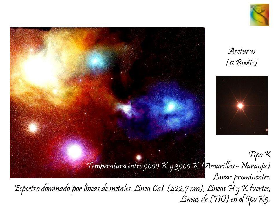 Arcturus (α Bootis) Tipo K. Temperatura entre 5000 K y 3500 K (Amarillas - Naranja) Líneas prominentes: