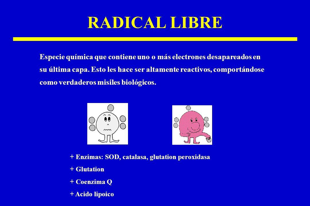 RADICAL LIBRE Especie química que contiene uno o más electrones desapareados en.