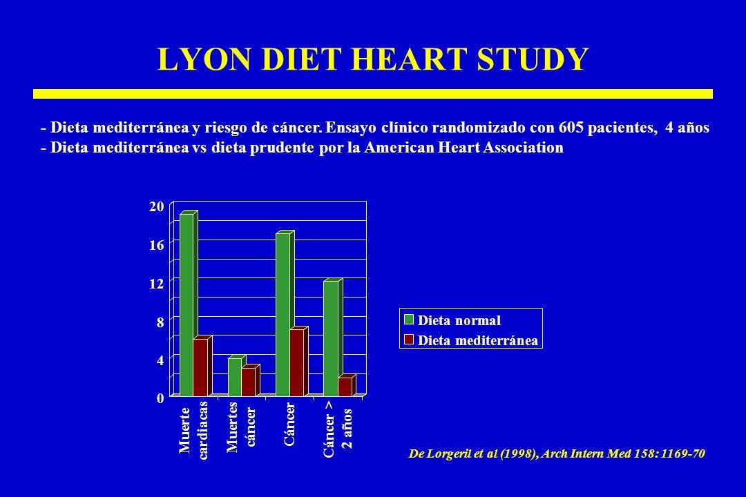 LYON DIET HEART STUDY - Dieta mediterránea y riesgo de cáncer. Ensayo clínico randomizado con 605 pacientes, 4 años.