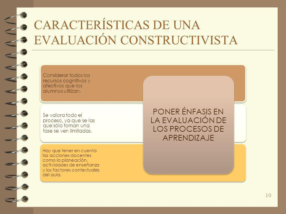 CARACTERÍSTICAS DE UNA EVALUACIÓN CONSTRUCTIVISTA