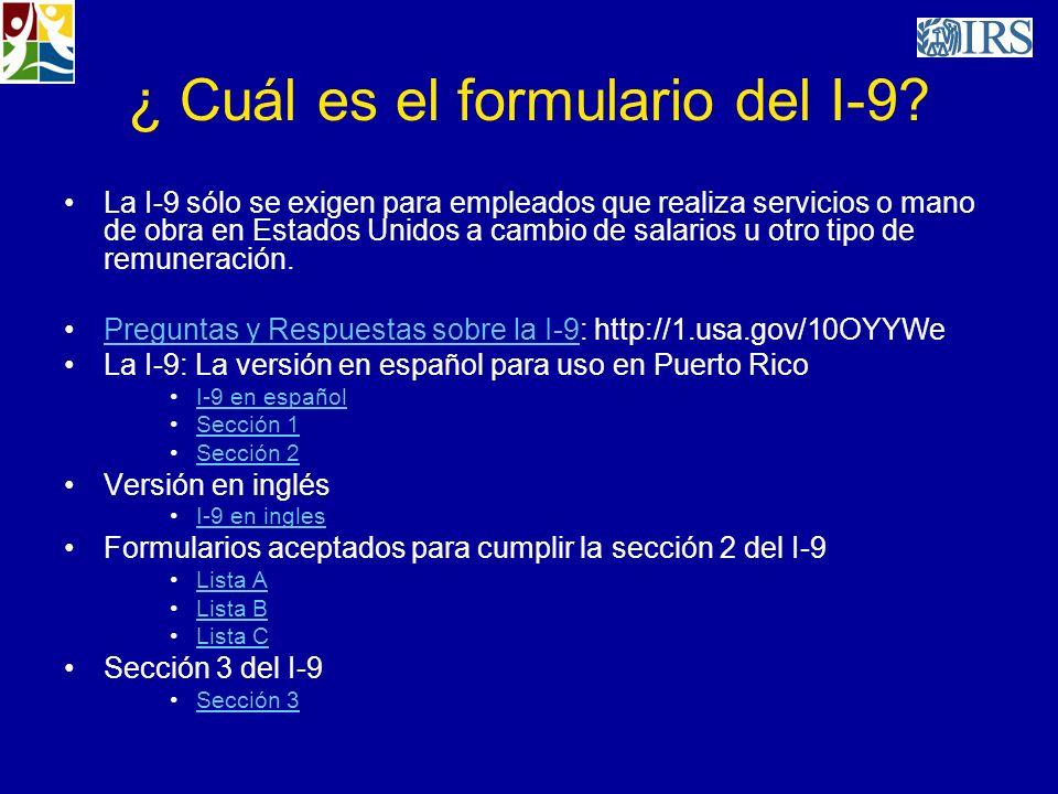 ¿ Cuál es el formulario del I-9
