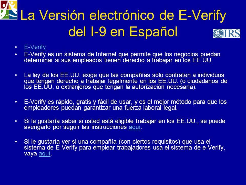 La Versión electrónico de E-Verify del I-9 en Español